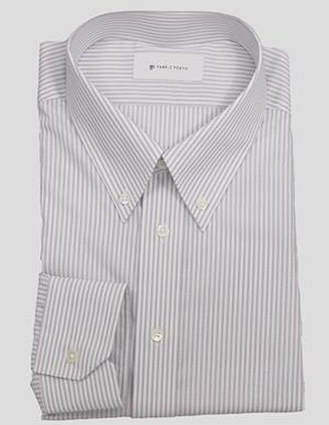 Gray pinstripe button-down shirt by Fabric Tokyo