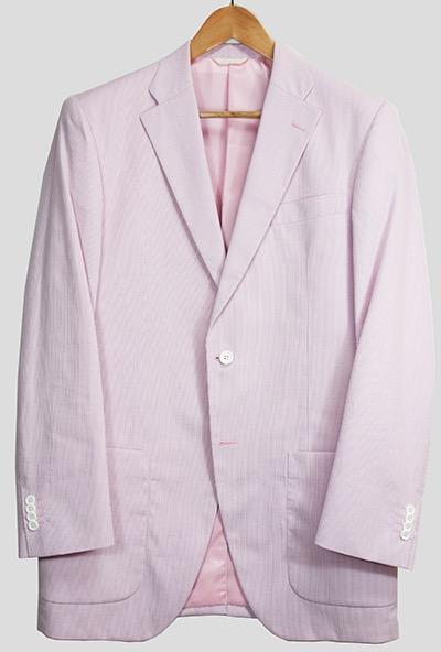 Pink candy striped jacket by Azabu Tailor