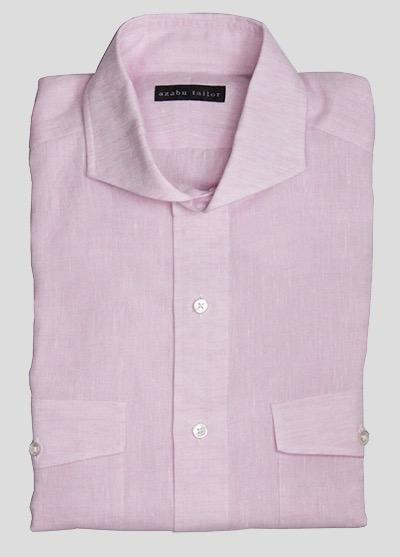 Pink linen shirt by Azabu Tailor